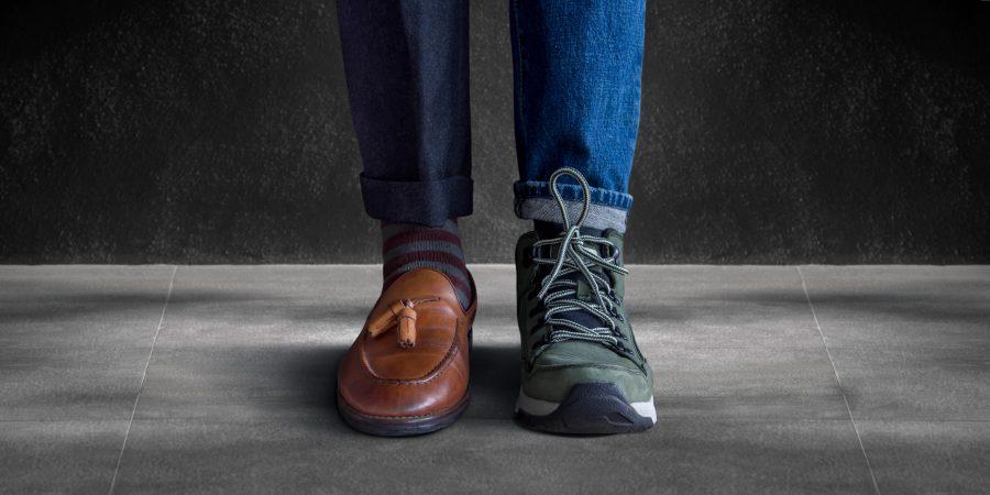 Geteilter Mann mit Casual und Business-Look